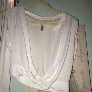 Free people white cropped workout top
